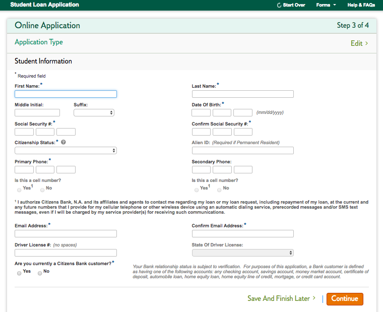 Citizens Bank Student Loan application screenshot