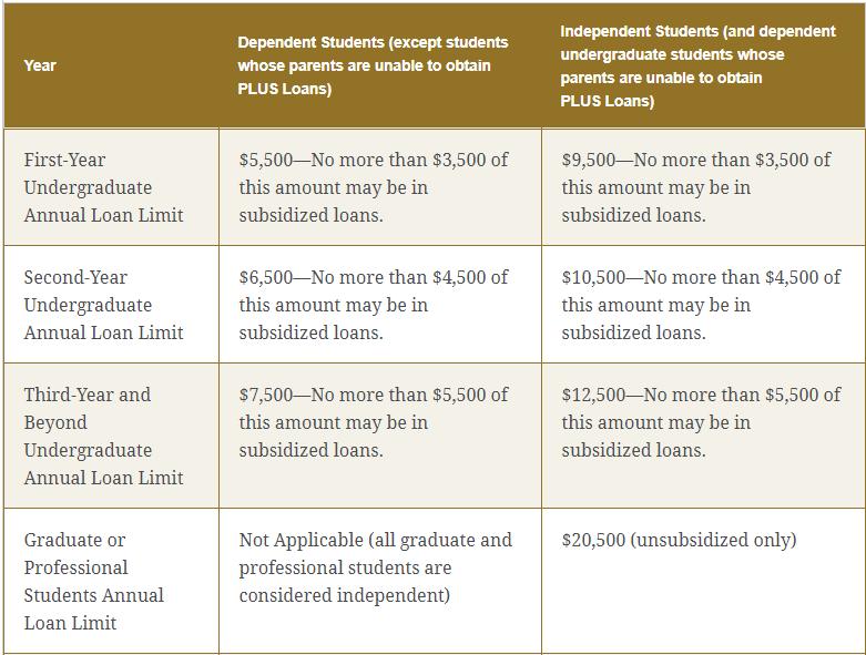 Federal loan limits
