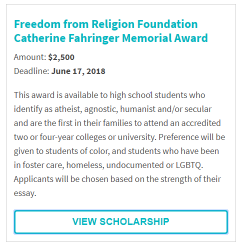 Freedom from Religion Catherin Fahringer Memorial Award