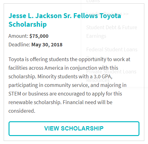 Jesse L. Jackson Sr. Fellows Toyota Scholarship