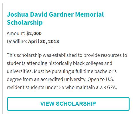 Joshua David Gardner Memorial Scholarship