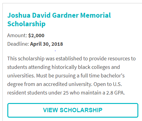 Joshua David Gardner Memorial Scholarship