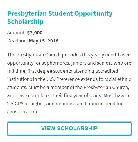Presbyterian Student Opportunity Scholarship