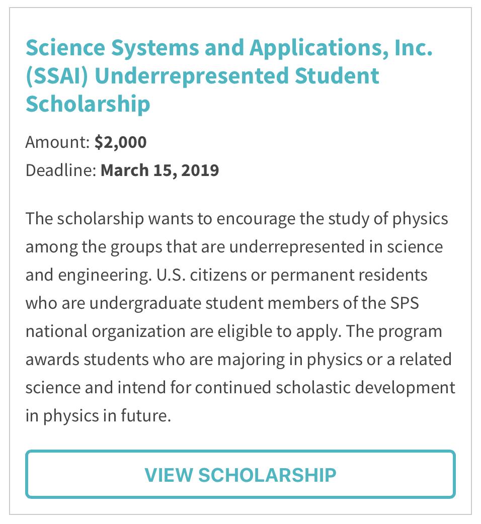 SSAI Underrepresented Student Scholarship