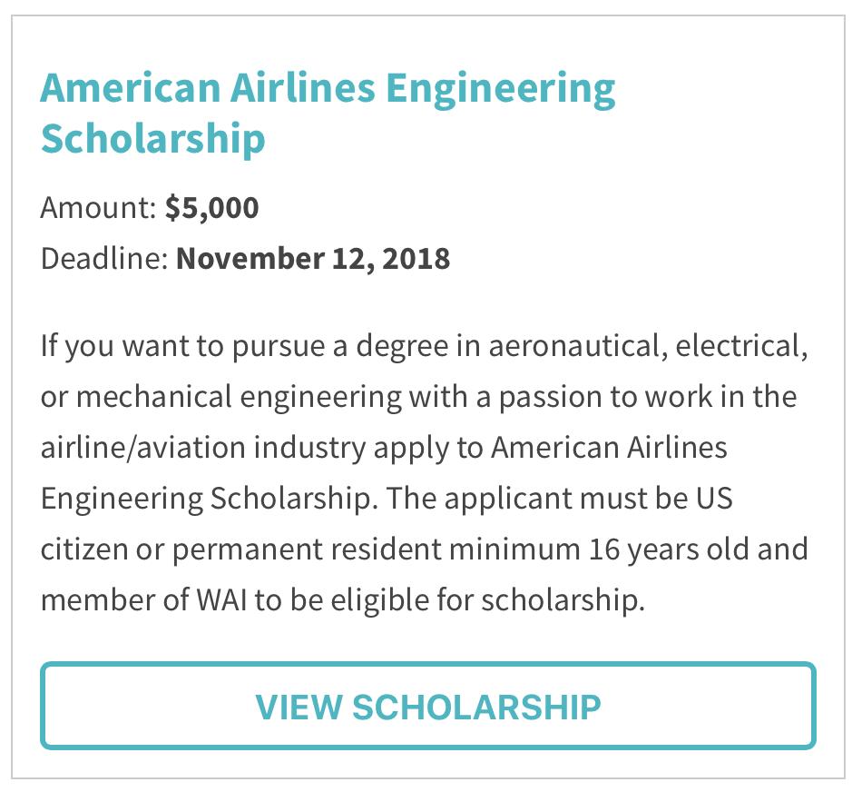 American Airlines Engineering Scholarship