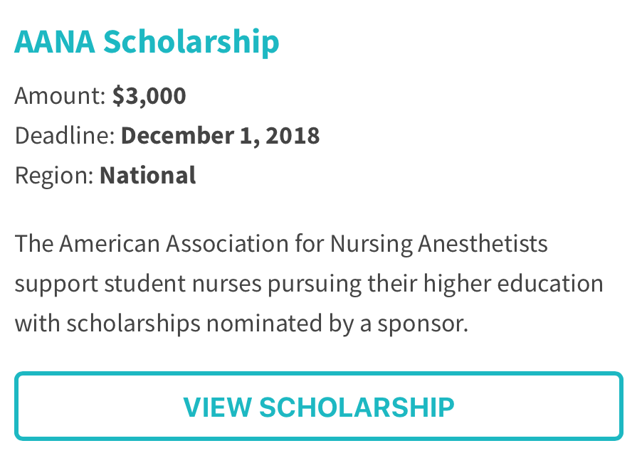 American Association for Nursing Anesthetists Scholarship