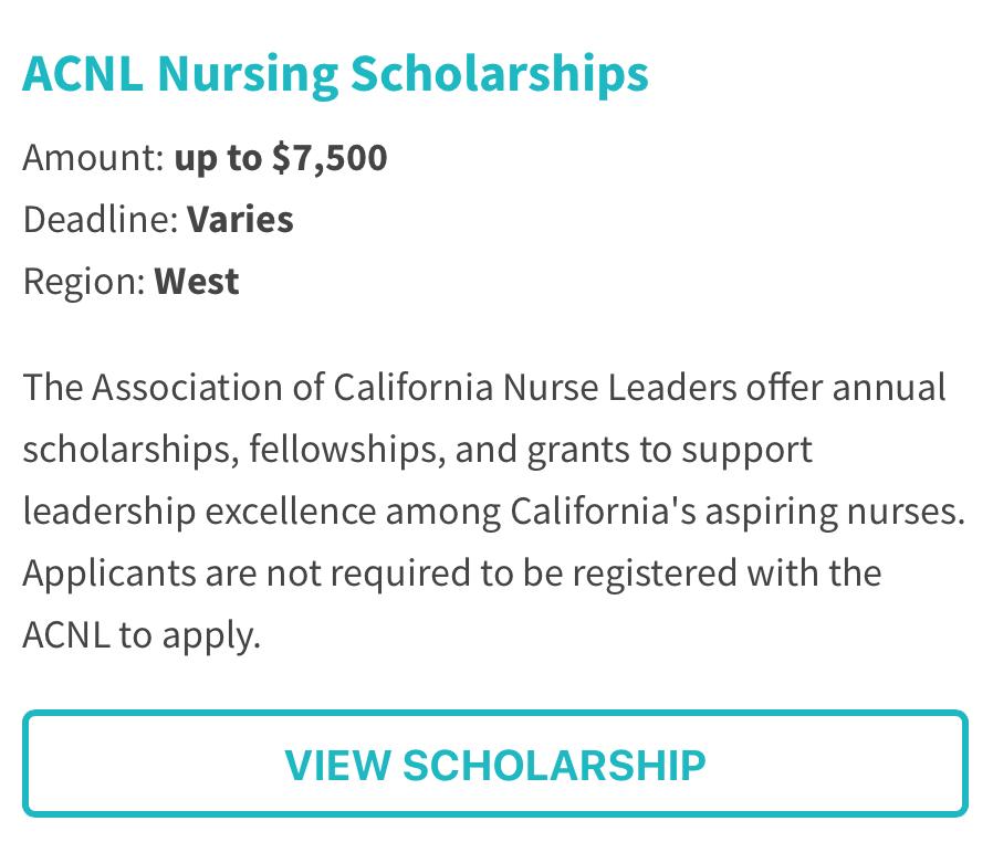 Association of California Nurse Leaders Scholarship