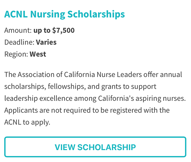 Association of California Nurse Leaders Scholarship