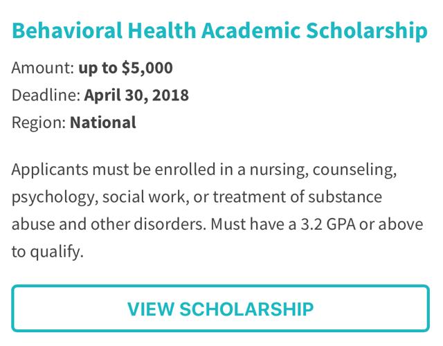 Behavioral Health Academic Scholarship