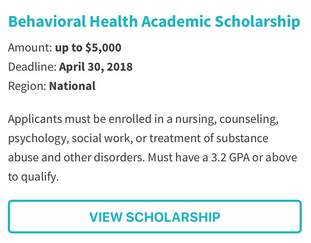 Behavioral Health Academic Scholarship