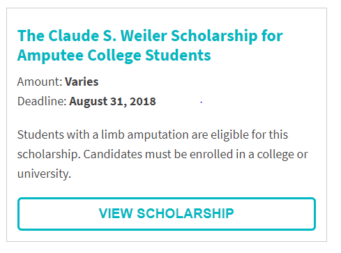 Claude S. Weiler Scholarship for Amputee College Students.png