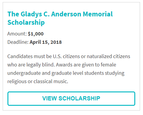 Gladys C. Anderson Memorial Scholarship for blind, female music majors.png