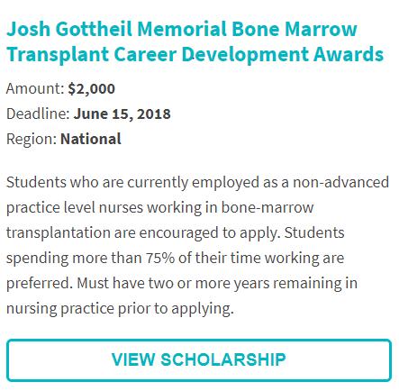 Josh Gottheil Memorial Scholarship Bone Marrow Scholarship