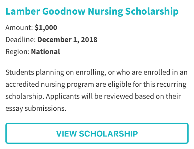 Lamber Goodnow Nursing Scholarship