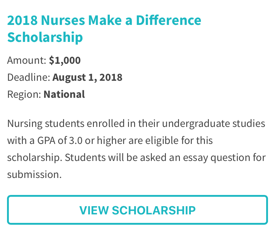 2018 Nurses Make a Difference Scholarship